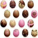 Jogo de ovos de chocolate decorados Imagens de Stock Royalty Free