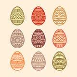 Jogo de ovos de easter coloridos Ilustração do vetor no projeto liso ilustração stock