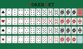 Jogo de pôquer isolado do cartão com reverso, em um fundo verde ilustração royalty free