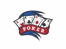 Jogo de pôquer profissional do emblema do logotipo do vetor moderno Fotografia de Stock