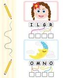 Jogo de palavra para miúdos - menina & lua Imagens de Stock Royalty Free