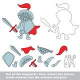 Jogo de papel da criança Pedido fácil para crianças com Toy Knight ilustração stock