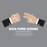 Jogo de papel da mão das tesouras da rocha Foto de Stock