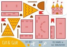 Jogo de papel para crianças, castelo da educação Fotos de Stock