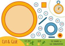 Jogo de papel para crianças, relógio da educação de bolso ilustração stock
