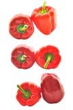 Jogo de paprika vermelhas Fotos de Stock Royalty Free