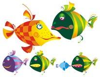 Jogo de peixes engraçados coloridos. Imagem de Stock
