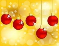 Jogo de pendurar ornamento vermelhos do Natal Foto de Stock Royalty Free