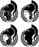 Jogo de perfis de athena ilustração royalty free
