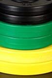 Jogo de pesos coloridos do disco Imagem de Stock