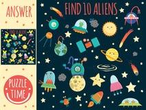Jogo de pesquisa para crianças com planetas, estrangeiros e UFO ilustração do vetor