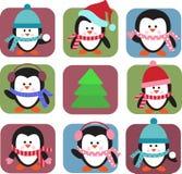Jogo de pinguins do feriado Imagens de Stock