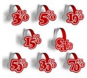 Jogo de por cento das etiquetas para a venda. Imagens de Stock Royalty Free