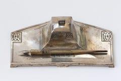 Jogo de prata da mesa de escrita imagem de stock