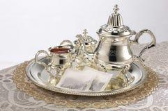 Jogo de prata do teapot Foto de Stock Royalty Free