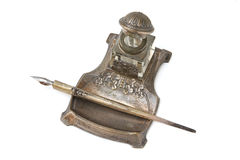 Jogo de prata velho da mesa de escrita foto de stock royalty free