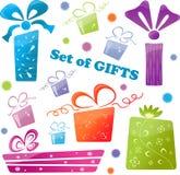 Jogo de presentes coloridos (ícones), ilustração Fotos de Stock