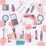 Jogo de produtos da composição Fotografia de Stock