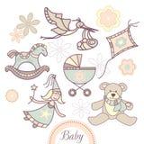 Jogo de produtos do bebê Foto de Stock