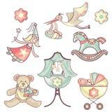 Jogo de produtos do bebê Fotos de Stock Royalty Free