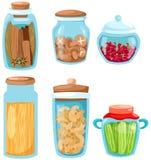 Jogo de produtos vidreiros do ingrediente Fotos de Stock