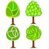 Jogo de quatro árvores verdes abstratas Imagens de Stock