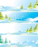 Jogo de quatro bandeiras da paisagem do inverno Fotos de Stock Royalty Free