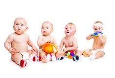Jogo de quatro bebês fotografia de stock