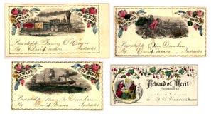 Jogo de quatro certificados antigos do mérito Imagens de Stock Royalty Free