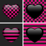 Jogo de quatro corações lustrosos de Emo. ilustração stock