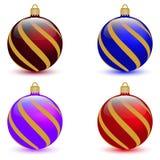 Jogo de quatro esferas do Natal Foto de Stock Royalty Free