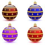 Jogo de quatro esferas do Natal Imagens de Stock Royalty Free