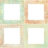 Jogo de quatro frames florais gastos Fotos de Stock Royalty Free