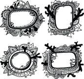 Jogo de quatro frames ornamentado hand-drawn ilustração stock