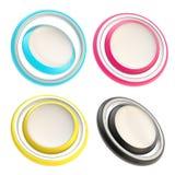 Jogo de quatro teclas redondas do círculo do copyspace Fotografia de Stock Royalty Free