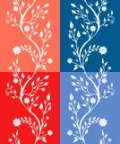 Jogo de quatro testes padrões florais Imagens de Stock Royalty Free