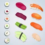 Jogo de rolos de sushi ilustração stock