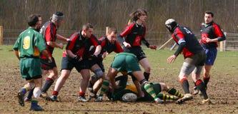 Jogo de rugby amador fotografia de stock