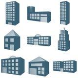Jogo de símbolo da arquitetura no azul monocromático Fotos de Stock