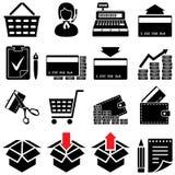 Jogo de símbolo de comércio (preto e branco) Ilustração do Vetor