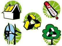 Jogo de símbolo verde do eco isolado Fotografia de Stock Royalty Free