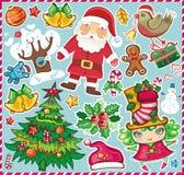 Jogo de símbolos 2 do Natal Fotografia de Stock Royalty Free