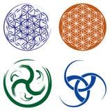 Jogo de símbolos celtas e flor da vida   Fotografia de Stock