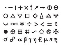Jogo de símbolos da mística mim Foto de Stock