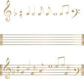 Jogo de símbolos das notas musicais do ouro Foto de Stock Royalty Free