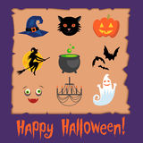 Jogo de símbolos de Halloween Foto de Stock