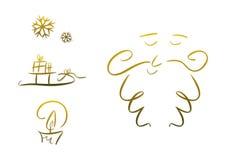 Jogo de símbolos do Natal (ouro) Imagens de Stock Royalty Free