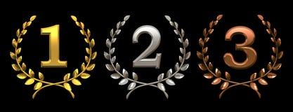 Jogo de símbolos do ouro, da prata e do bronze Imagem de Stock Royalty Free