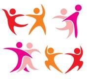 Jogo de símbolos dos pares da dança. ilustração stock
