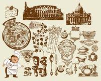 Jogo de símbolos italianos. Desenho da mão. Colosseum (R ilustração royalty free